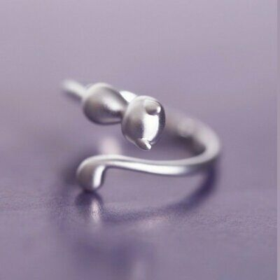 Fashion Lovely Cat Kitten Women Lady Jewelry Opening Adjustable Ring Party Gift 6
