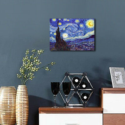 Starry Night by Van Gogh Fine Art Print Painting Reproduction on Canvas Framed 10