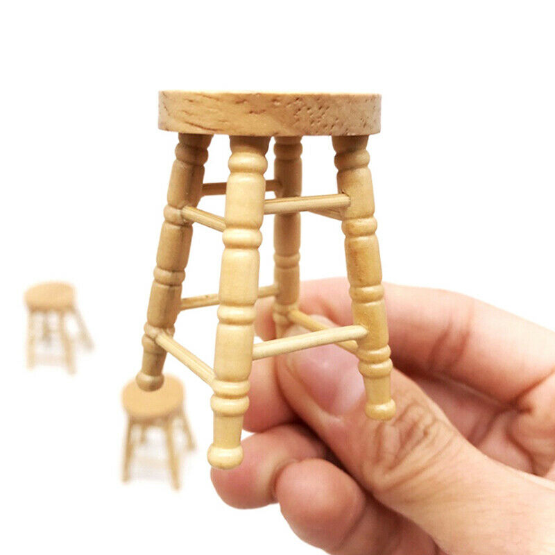 1/12 Dollhouse miniature wooden stool chair furniture accessories.decoration BF 5
