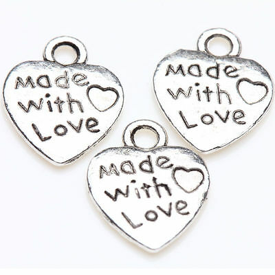 """B1B9 Lot 50 Silver Plated Made With Love Heart Charms 0.35/"""" Hot Z6Z2"""