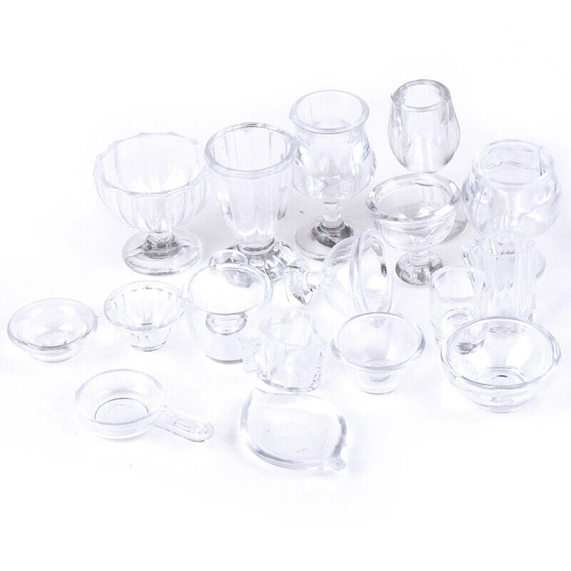 17Pcs/Set 1:12 Dollhouse Miniature Transparent Tableware DIY Pretend Play T IO 3