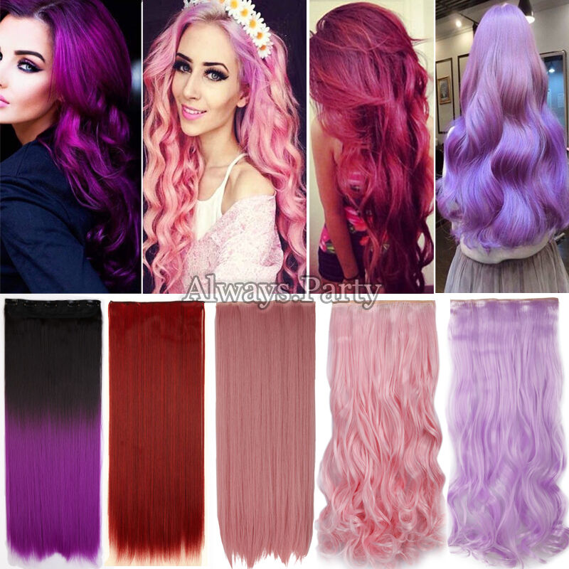 Extra Long Ombre Half Full Head Clip In Hair Extensions Real Thick