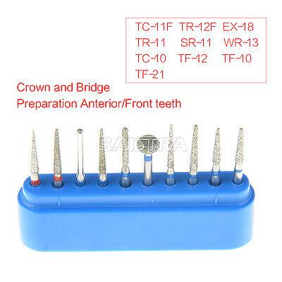 Dental Diamond Burs Bur drills Set Kit FG101-FG114 for Handpiece Air Turbine 8