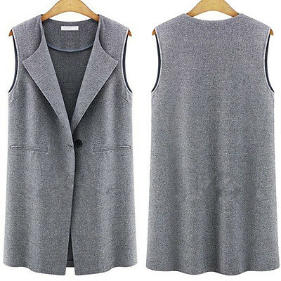 Womens Sleeveless Jacket Long Duster Coat Cardigan Gilets Vest Outwear Waistcoat