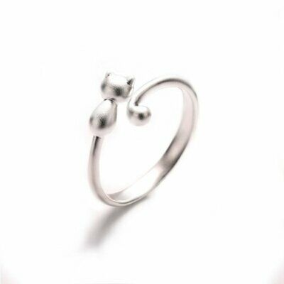 Fashion Lovely Cat Kitten Women Lady Jewelry Opening Adjustable Ring Party Gift 4