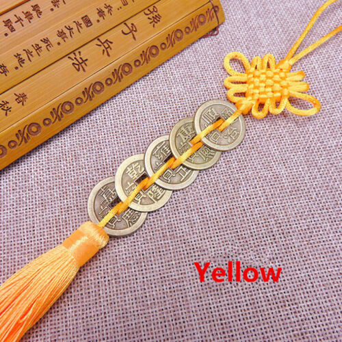 Chinese Feng Shui Protection Lucky Fortune Charm Red Tassel String Tied Coins LH 9
