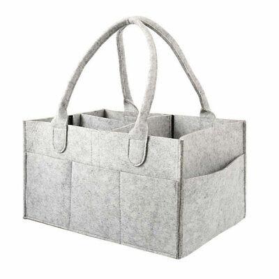 Baby Diaper Organizer Caddy Felt Changing Nappy Kids Storage Carrier Bag Grey UK 3