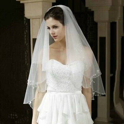 Bridal Wedding White Veil 2 Tier Handmade Elbow Beaded With Comb Soft Tulle 6