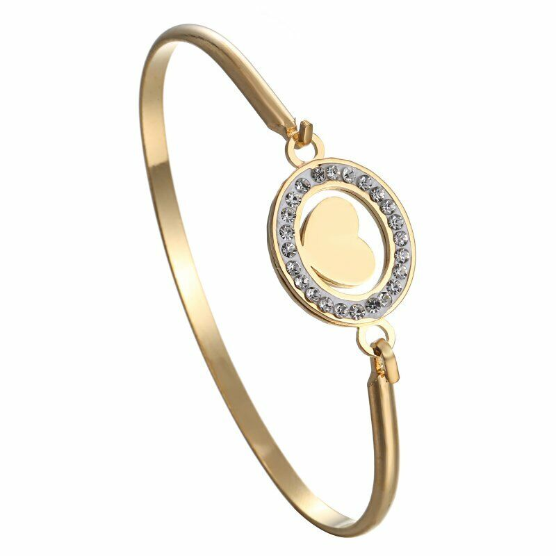Mother Gold Stainless Steel Love Heart Women Cuff Bracelet Bangle Family Jewelry 12