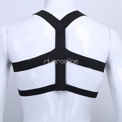 Herren Riemen Body Geschirr Unterwäsche Brust Harness Männerbody Kostüm Schwarz 4