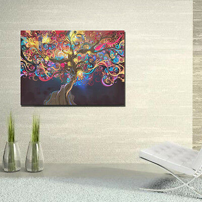 Psychedelic Trippy Tree Abstract Art Silk Fabric Cloth Poster Home Wall Decor 9