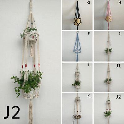 Pot Holder Macrame Plant Hanger Hanging Planter Basket Jute Rope Braided Hooks