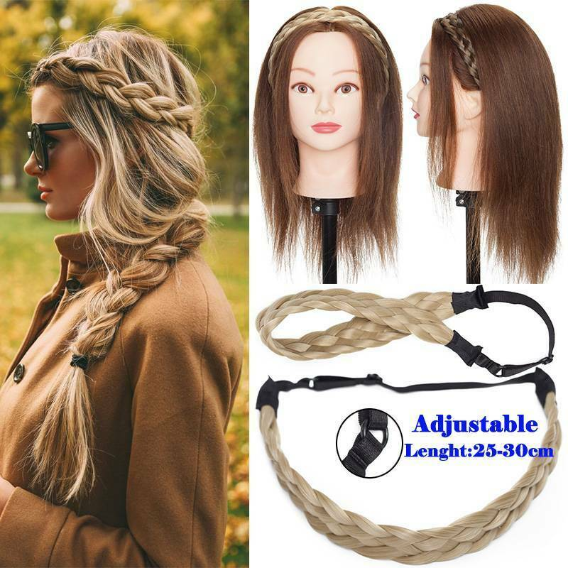 Wide Hair Plait Thick Chunky Braided Hairpiece Brown Headband Hairband 25-30cm 4