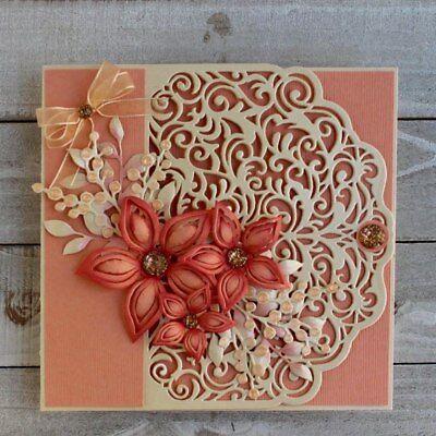 Retro Floral Lace Corners Edge Cutting Dies Stencil Scrapbooking Embossing DIY 7