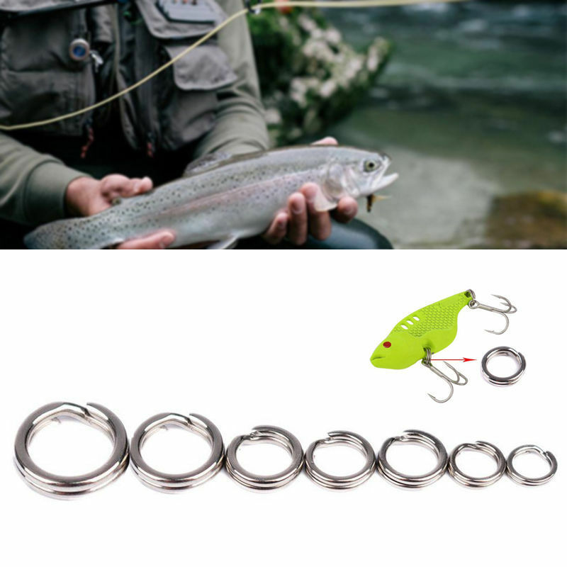 50Pcs Stainless Steel Split Ring Assortment Assorted Rings Fishing Tackle New