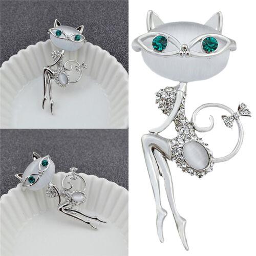 1x Opal Strass Kristall kleine Katze Brosche Tier niedlichen SchRSDE