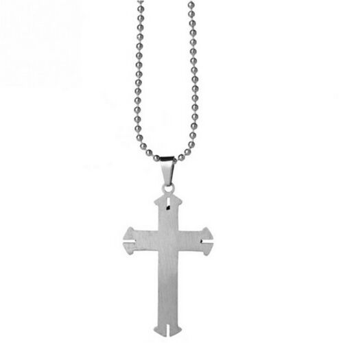 Unisex Men Stainless Steel Cross Blue Silver Pendant Necklace Chain Jewelry Gift 6