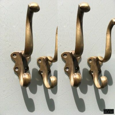 "4 COAT HOOKS door solid brass furniture vintage age old style heavy 5 "" patina 8"