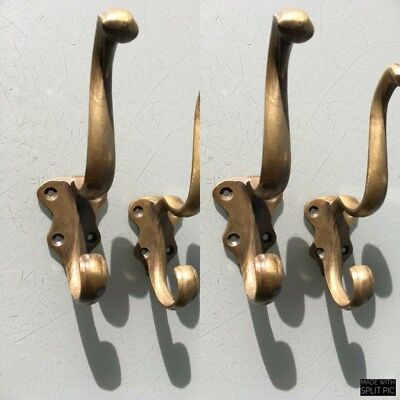 "4 COAT HOOKS door solid brass furniture vintage age old style heavy 5 "" patina B 9"