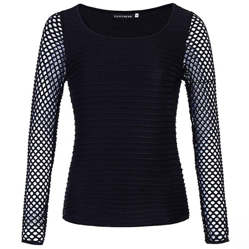 Women Slim Low Cut Long Sleeve Blouse Net Tops Punk Rock Gothic Fishnet Shirt 10