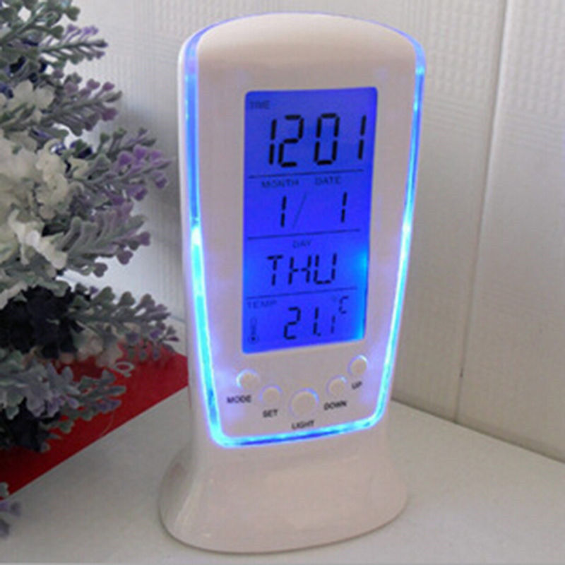 New Display Digital LED Backlight Table Alarm Clock Snooze Thermometer Calendar