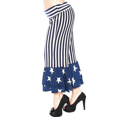 PLUS Size Victorian Lagenlook Ruffle USA Patriotic FLAG Capri Pants 1X 2X 3X 4X