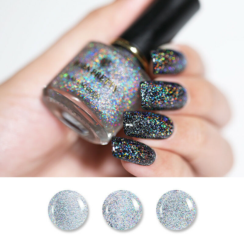 BORN PRETTY 6ml Sequined Holographic Top Coat Nail Polish Glitter Clear 4