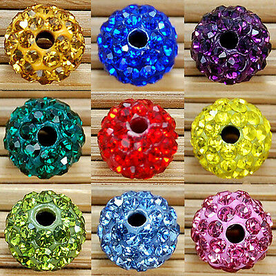 50Pcs Quality Czech Crystal Rhinestones Pave Clay Round Disco Ball Spacer Beads 3