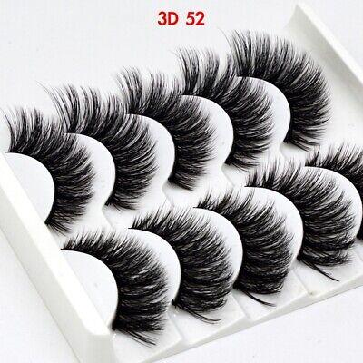 UK 5 Pairs 3D Fake Eyelashes Long Thick Natural False Eye Lashes Set Mink Makeup 8