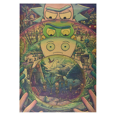 Anime Rick And Morty The Last Supper Kraft paper Poster Cafe Decoration Vintage 3