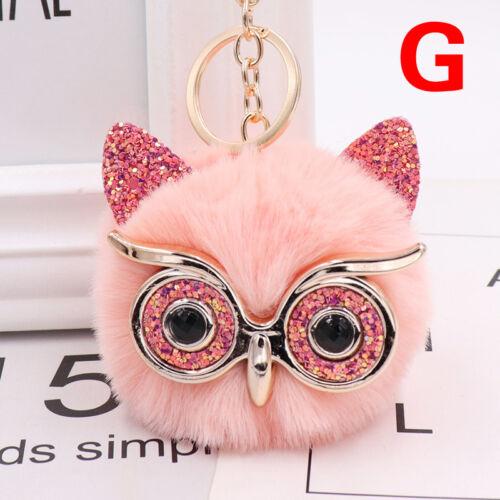 Charm Owl Keychain Fox Faux Fur Cute Pompom Ball Pendant Soft Car Keyring Purse 8