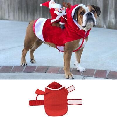 Christmas Santa Claus Pet Dog Fancy Dress Jacket Coat Costume Outfit Clothes we 3