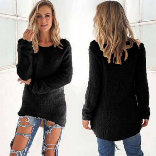 Womens Fluffy Sweatshirt Casual Sweater Long Sleeve Pullover Blouse Jumper Tops 8