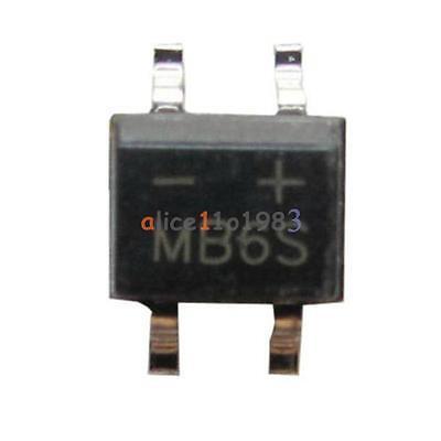 100Pcs IC MB6S 0.5A 600V Miniature Mini SMD Bridge Rectifier 4