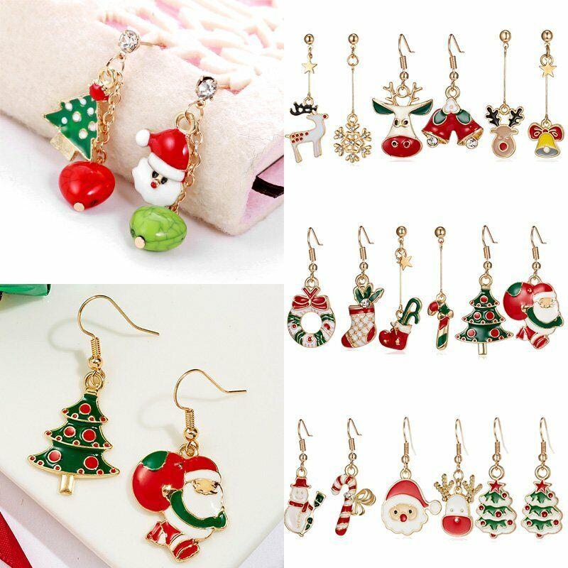 Fashion Women Christmas Earrings Enamel Crystal Drop Dangle Ear Stud Ear Hook 3