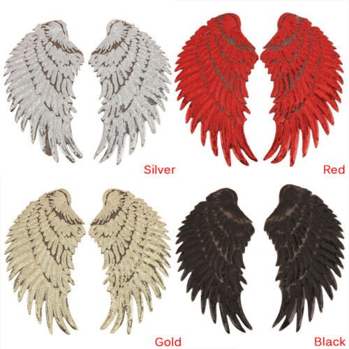 1pair Clothes Wings Sequin Motif Applique Embroidered Iron On Patches Stickerjqj 4 44 Picclick Uk