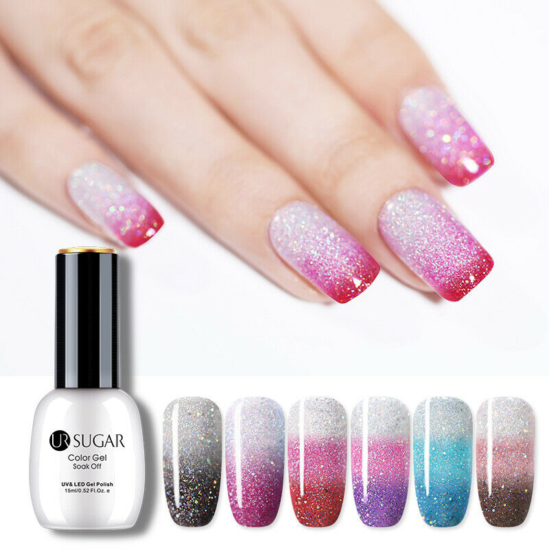 UR SUGAR 15ml Thermal Gel Polish 3-layers Glitter Soak Off UV Gel Nail Varnish 7
