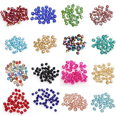 Lot 200Pcs Crystal Czech Glass Bicone Loose Spacer Beads Jewelry Making 4mm 3