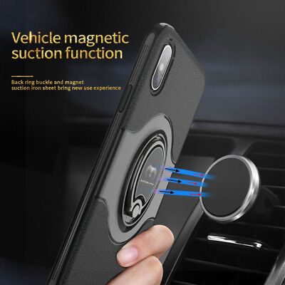For iPhone XS Max XR XS X Ring Magnetic Shockproof Hybrid TPU Bumper Case Cover 2