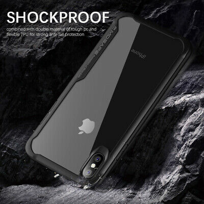 For iPhone XS Max XR X Clear Back Shockproof Bumper Protective Cover Case Slim 8
