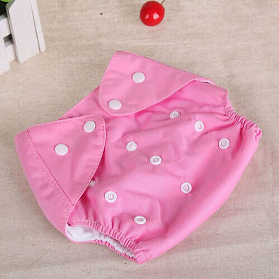 Adjustable Reusable Lot Baby Kids Boy Girls Washable Cloth Diaper Nappies Pink 2