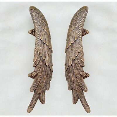 2 ANGEL cast heavy WINGS hollow soild brass door pull old style natural aged 4