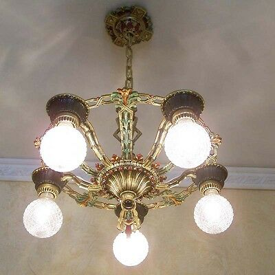 972 Vintage 20s 30s Ceiling Light  aRT Nouveau Polychrome Chandelier 8