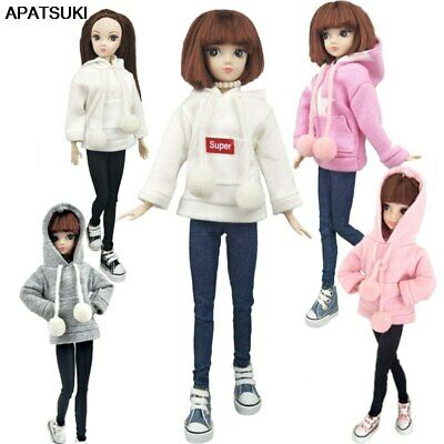 Pink Sweatshirt Doll Clothes Outfits Leather Pants Canvas Shoes For 1/6 Doll Toy 2