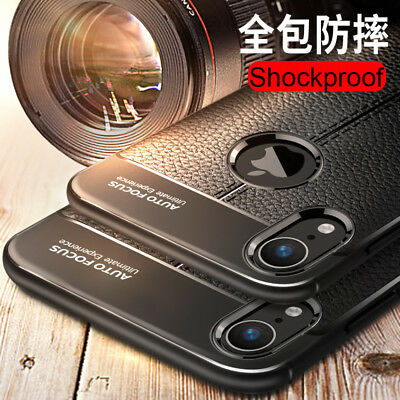 For iphone Xs Max Xr X 8 7 6S Silicone Rubber TPU Leather Slim Back Cover Case 5
