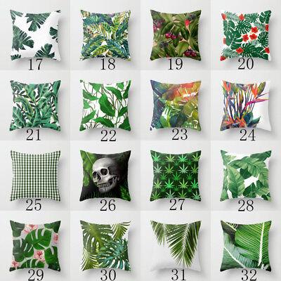 Polyester pillow case cover green leaves throw sofa car cushion cover Home Decor 3