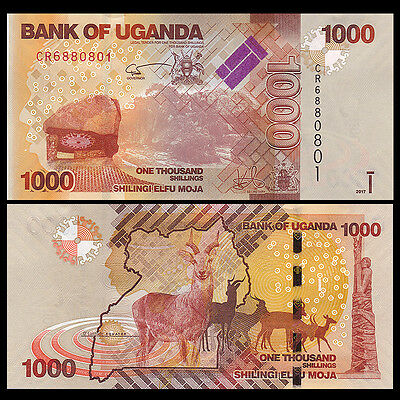 Lot 5 PCS, Uganda 1000 (1,000) Shillings, 2017, P-49e New, UNC