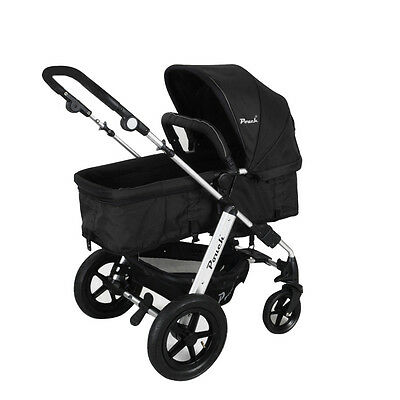 New 2 In 1 Baby Toddler Pram Stroller Jogger Aluminium With Bassinet Black 5