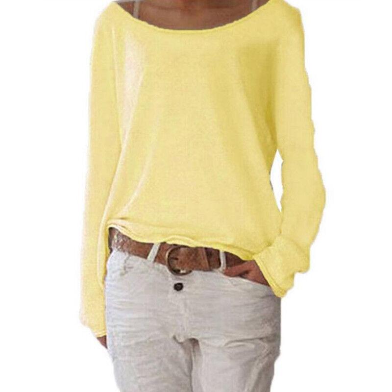 Women's Plain Long Sleeve T-Shirt Blouse Ladies Casual Loose Tops Shirts Tee UK 5