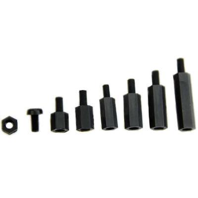 180Pcs M3 Nylon Black M-F Hex Spacers Screw Nut Assortment Kit Stand off Set Hot 6
